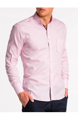 Рубашка мужская K490 - pudrowy róż