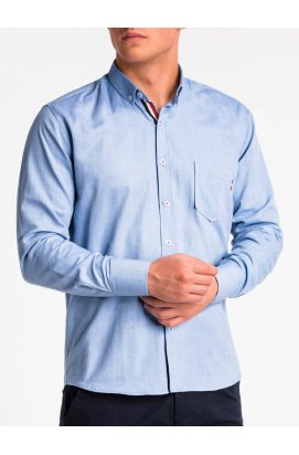 Рубашка мужская R490 -голубой
