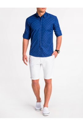 Рубашка мужская R465 - Синий/Белый