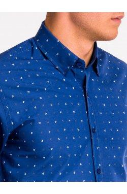 Рубашка мужская K465 - Синий/Белый