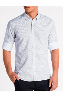 Рубашка мужская R479 - Белый/красный