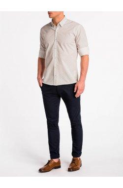 Рубашка мужская K479 - Белый/Синий