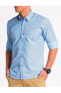 Рубашка мужская K479 - niebieska/Синий