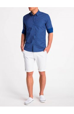 Рубашка мужская K479 - Синий/Белый
