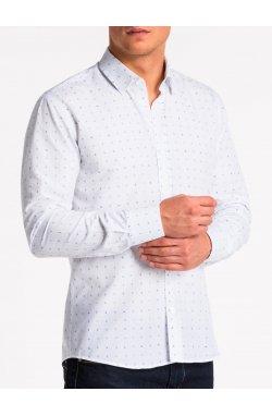 Рубашка мужская K465 - Белый/Синий