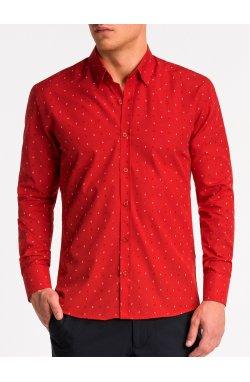 Рубашка мужская K465 - Красный/Белый
