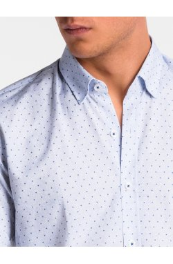 Рубашка мужская K466 - Белый/niebieska