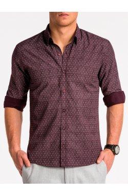 Рубашка мужская K466 - bordowa/Белый