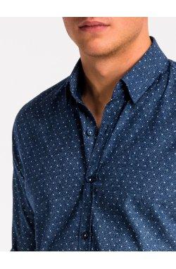 Рубашка мужская K466 - Синий/Белый