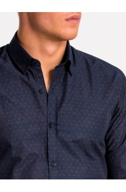 Рубашка мужская K466 - темно-Синий/bordowa