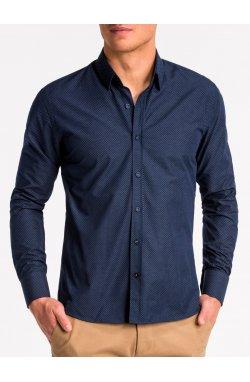 Рубашка мужская K468 - Синий/brązowa