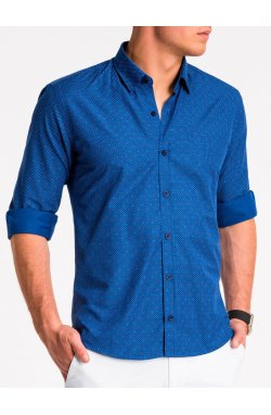Рубашка мужская K470 - niebieska/Синий