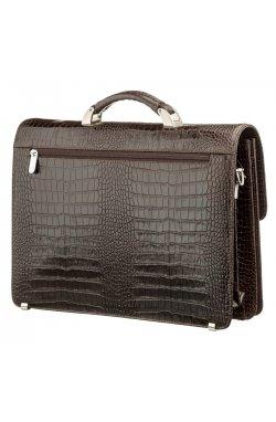 Портфель мужской KARYA 17270 кожаный Коричневый с тиснением под крокодила,