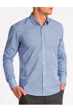 Рубашка мужская K471 - Белый/Синий