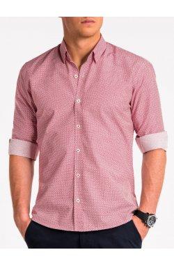 Рубашка мужская K471 - Белый/bordowa