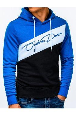 Bluza męska z kapturem B937 - niebieska