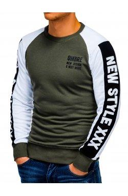 Bluza męska z nadrukiem B935 - oliwkowa