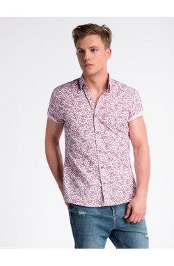 Рубашка мужская с короткими рукавами K474 - Белый/красный