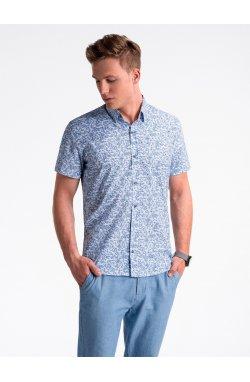 Рубашка мужская с короткими рукавами K474 - Белый/Синий