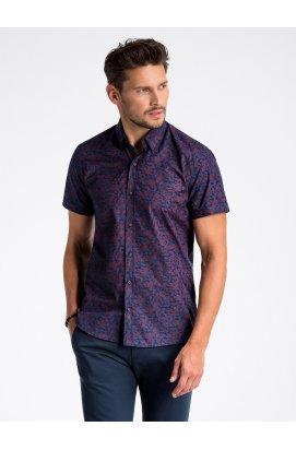 Рубашка мужская с короткими рукавами K474 - Синий/Темно- красный