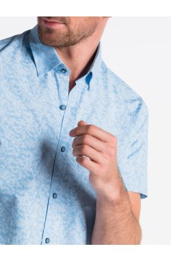 Рубашка мужская с короткими рукавами K474 - голубой/Белый