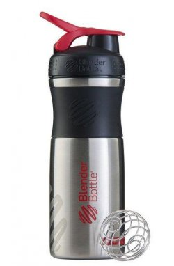 Спортивная бутылка-шейкер BlenderBottle SportMixer Stainless Steel Red 820мл (из нержавеюще