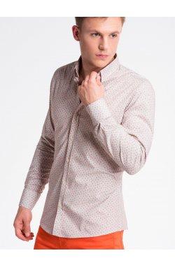 Рубашка мужская R495 - бежевый/оранжевый