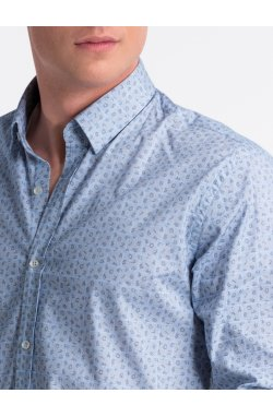 Рубашка мужская R495 - Белый/Синий