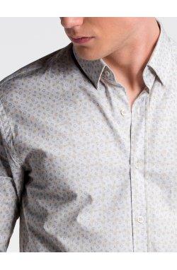 Рубашка мужская R495 - Белый/желтый