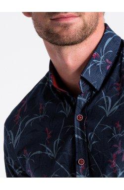 Рубашка мужская R498 - Синий/Темно- красный