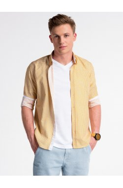 Men's elegant shirt with long sleeves K467 - оранжевый/зеленый
