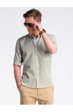 Рубашка мужская R467 - зеленый/коричневый