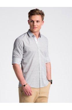 Рубашка мужская R469 - Белый/коричневый