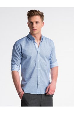 Рубашка мужская R469 - Белый/Синий
