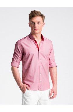 Рубашка мужская R472 - Белый/Темно- красный