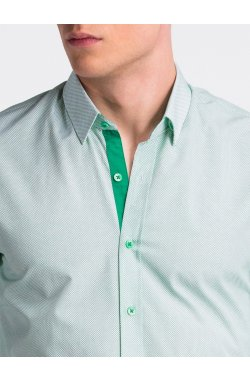 Рубашка мужская R478 - Белый/зеленый