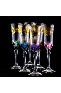 Набор для шампанского с позолотой (6 бокалов) - 6824