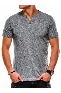T-shirt męski S1047 bez nadruku - szary