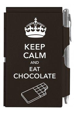 Карманный блокнот с ручкой Keep calm chocolate - 3577