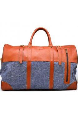 Большая дорожная сумка из кожи и текстиля Canvas GB-1633-4lx TARWA Рыжий