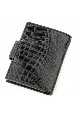 Визитница мужсккая CROCODILE LEATHER 18576 из натуральной кожи крокодила Черная