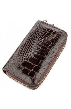 Клатч мужской CROCODILE LEATHER 18526 из натуральной кожи крокодила Коричневый,