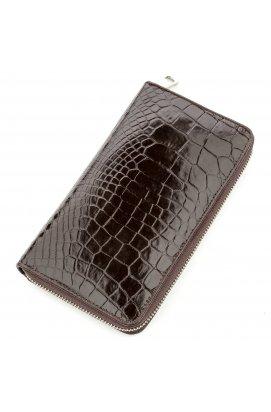 Мужской клатч CROCODILE LEATHER 18527 из натуральной кожи крокодила Коричневый,