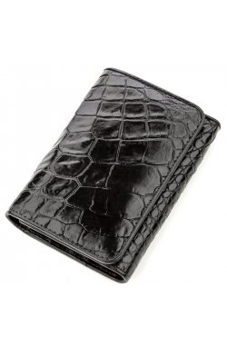 Бумажник мужской CROCODILE LEATHER 18573 из натуральной кожи крокодила Черный, Ч