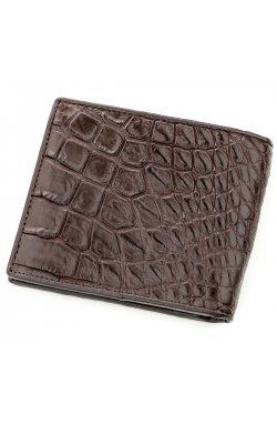 Бумажник мужской CROCODILE LEATHER 18577 из натуральной кожи крокодила Коричнев