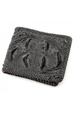 Бумажник мужской CROCODILE LEATHER 18580 из натуральной кожи крокодила Черный, Ч