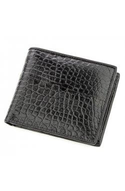 Бумажник мужской CROCODILE LEATHER 18584 из натуральной кожи крокодила Черный, Ч