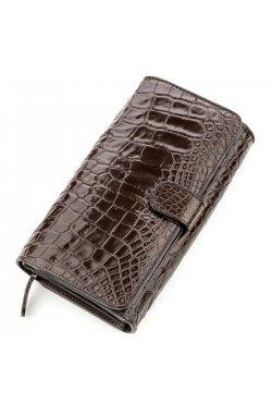 Клатч мужской CROCODILE LEATHER 18589 из натуральной кожи крокодила Коричневый,