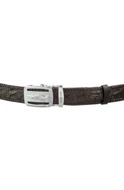 Ремень автоматический CROCODILE LEATHER 18604 из натуральной кожи крокодила Чер