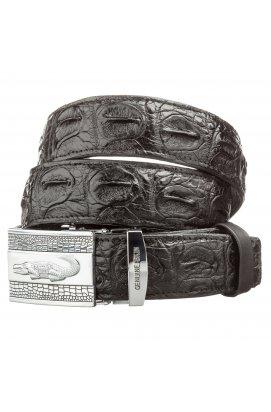 Ремінь автоматичний CROCODILE LEATHER 18605 з натуральної шкіри крокодила Чорний, Чорний